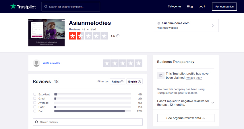 Asianmelodies review at Trustpilot.com
