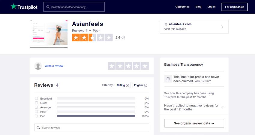 Asianfeels review at Trustpilot.com