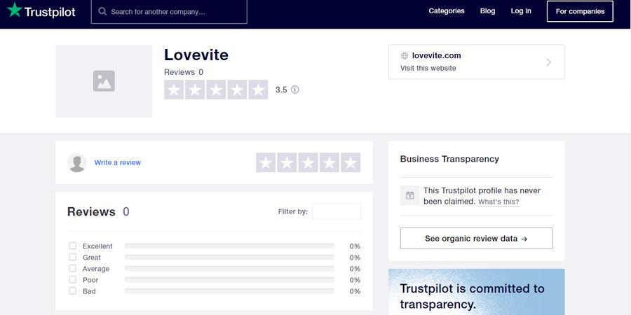 Lovevite review at Trustpilot.com