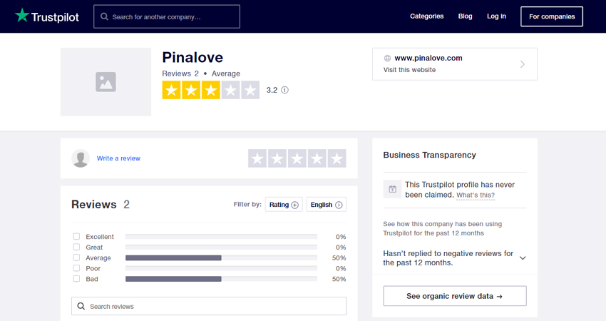 Pinalove review at Trustpilot.com